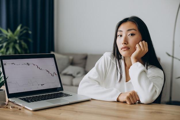 Frau, die diagramme an der börse auf dem computer überprüft