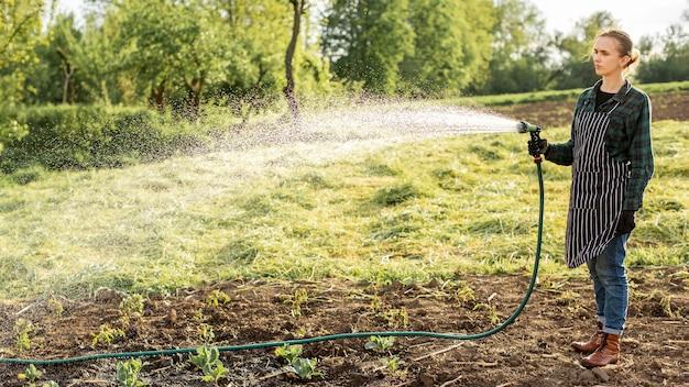 Frau, die die ernte gießt