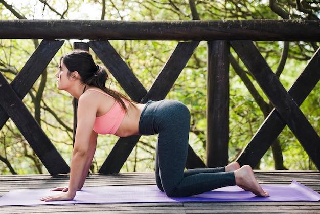 Frau, die draußen yoga tut