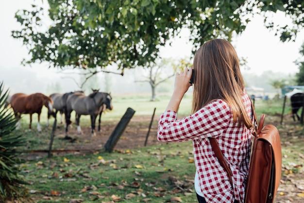 Frau, die ein foto von pferden macht