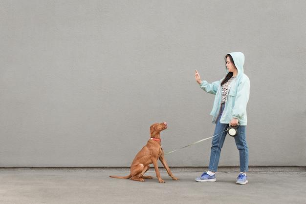 Frau, die eine jacke trägt, trainiert einen hund gegen eine graue wand