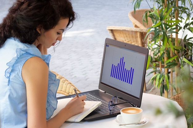 Frau, die entfernt mit laptop im café arbeitet. schöne brünette mit notizbuch im café. freiberuflich.