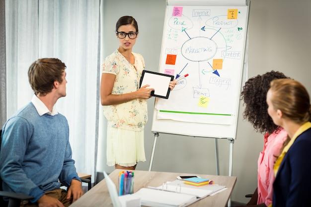 Frau, die flussdiagramm auf weißer tafel mit mitarbeitern bespricht