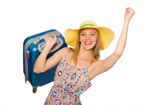 Frau, die für sommerferien sich vorbereitet