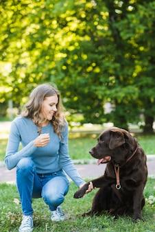 Frau, die ihren hund sitzt auf gras im garten betrachtet