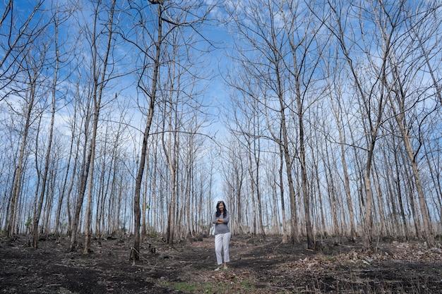 Frau, die in der mitte des waldes mit blattlosen bäumen steht
