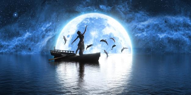 Frau, die in einem boot gegen den hintergrund des mondes und der delfine, 3d illustration tanzt