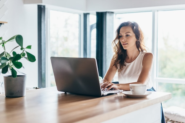 Frau, die laptop beim sitzen zu hause verwendet.