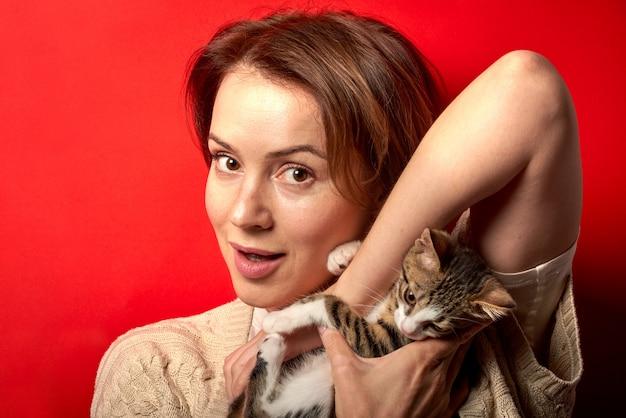 Frau, die mit einer kleinen katze spielt