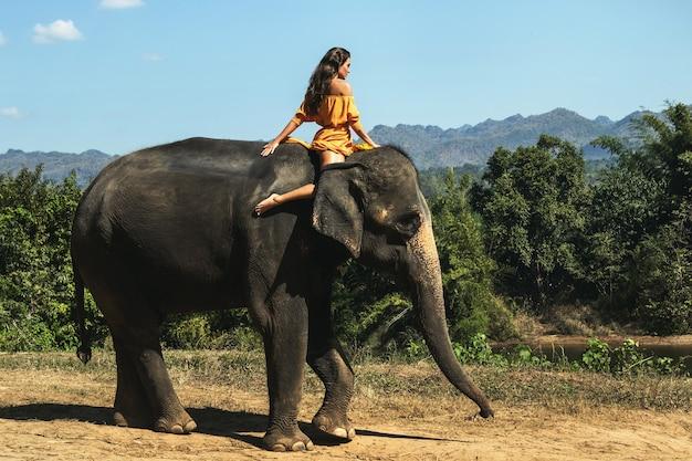 Frau, die schönes orange kleid trägt, reitet den mächtigen elefanten