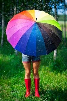 Frau, die sich vor dem regen schützt
