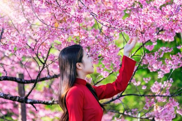 Frau, die vietnamkultur traditionell im kirschblütenpark trägt.