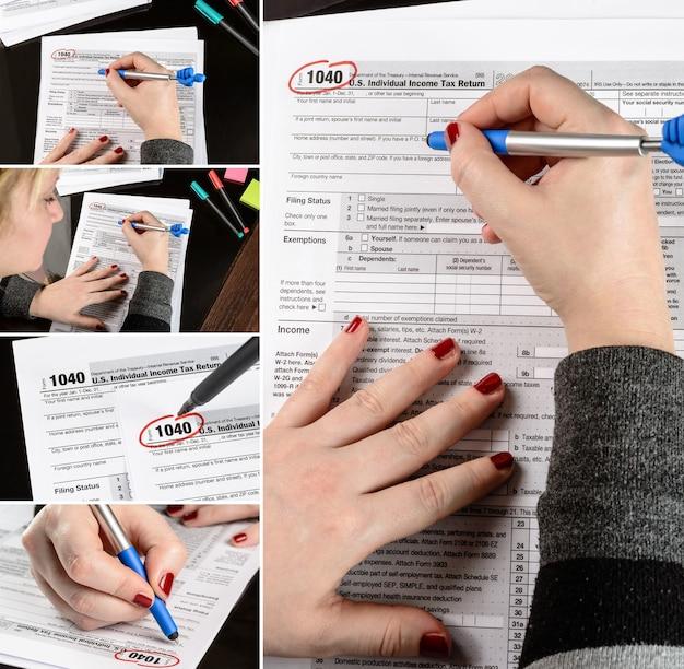 Frau füllt das steuerformular aus, das mit steuerdokumenten arbeitet formular 1040 collage von eingestellten fotos