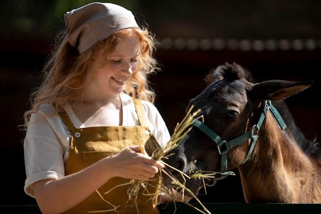 Frau füttert pferd mittlerer schuss