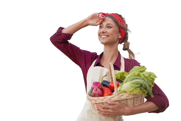 Frau gekleidete schürze weißen hintergrund kaukasischen unternehmerin mittleren alters in uniform