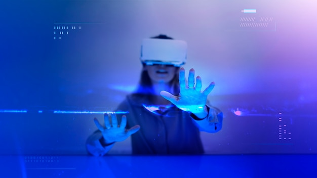 Frau genießt eine simulation von vr-headset