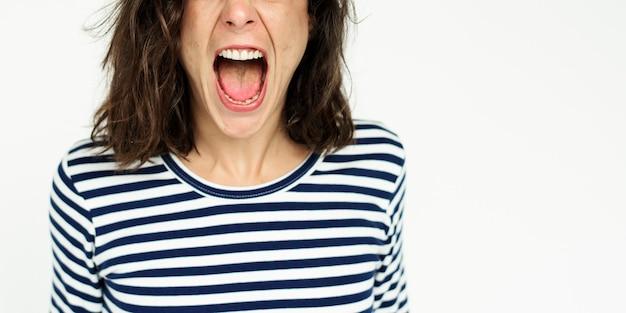 Frau gesicht schrei ausdruck emotion