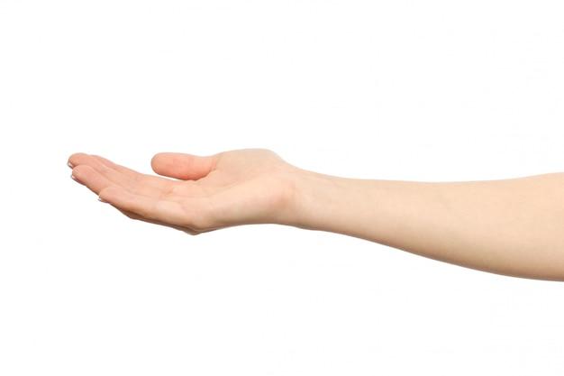 Frau gestreckte hand mit offener handfläche