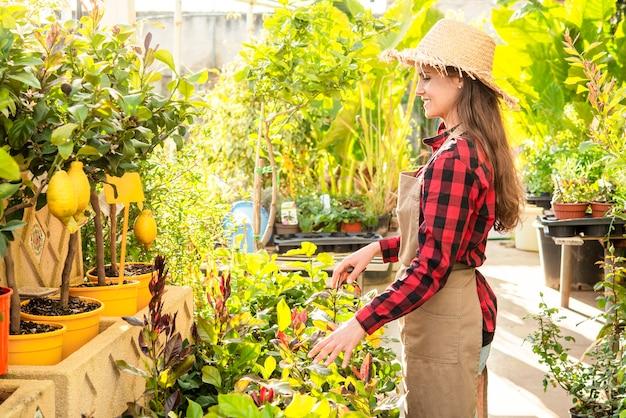 Frau glücklich im profil, das pflanzen im gewächshaus pflegt
