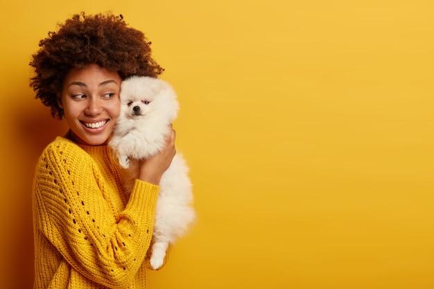 Frau hält spitzhund nahe gesicht, hat fröhliche stimmung, mag treue ergebene haustiere, steht vor gelbem hintergrund