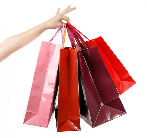 Frau halten tasche nach dem einkauf