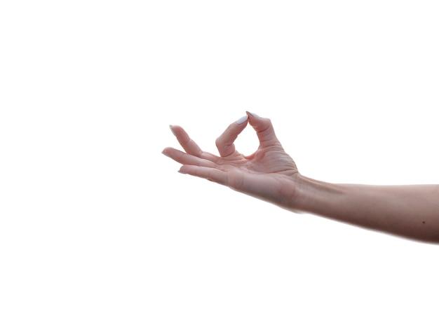 Frau hand ok zeichen isoliert