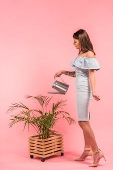 Frau im kleid, das grünpflanze im topf wässert