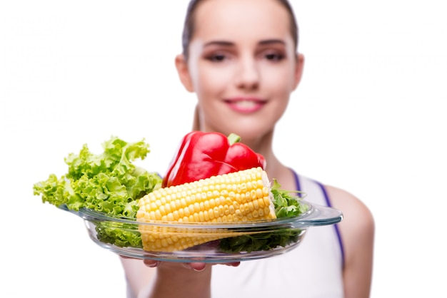 Frau im konzept der gesunden ernährung