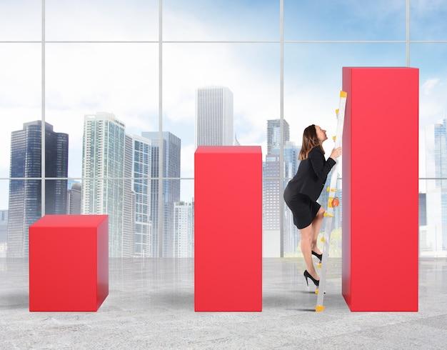 Frau im maßstab erreicht die höchste statistik