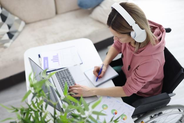 Frau im rollstuhl sitzt am schreibtisch mit kopfhörern und macht sich notizen im notizbuch. fernbedienung