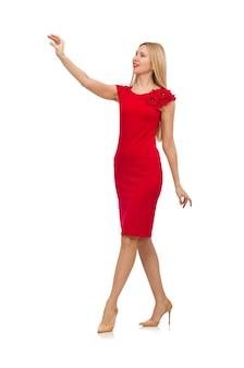 Frau im roten kleid getrennt auf weiß