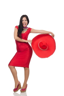 Frau im roten kleid mit sombrero
