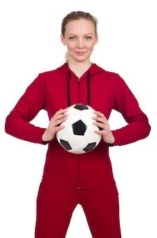 Frau im sportkonzept lokalisiert auf weiß