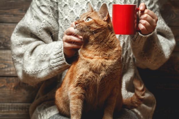 Frau im warmen pullover, der kaffee mit roter katze trinkt