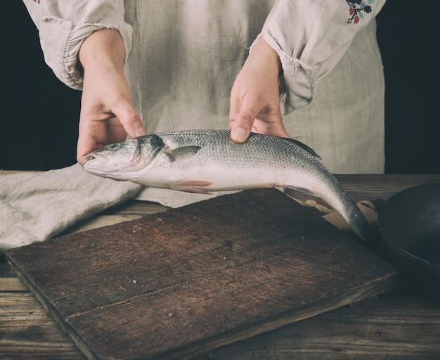 Frau in der grauen leinenkleidung, die einen frischen wolfsbarschfisch hält