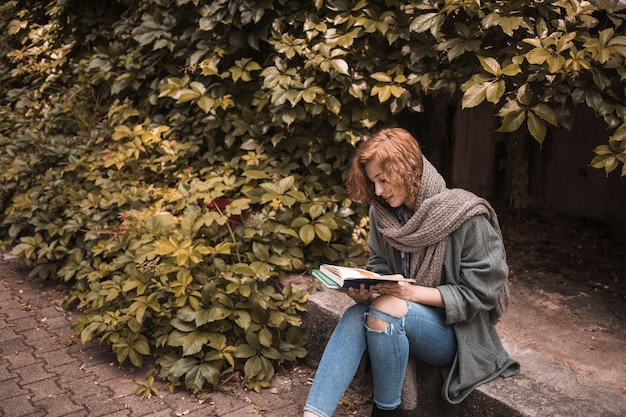 Frau in der straßenbekleidung, die an bord sitzt und lesebuch nahe anlage