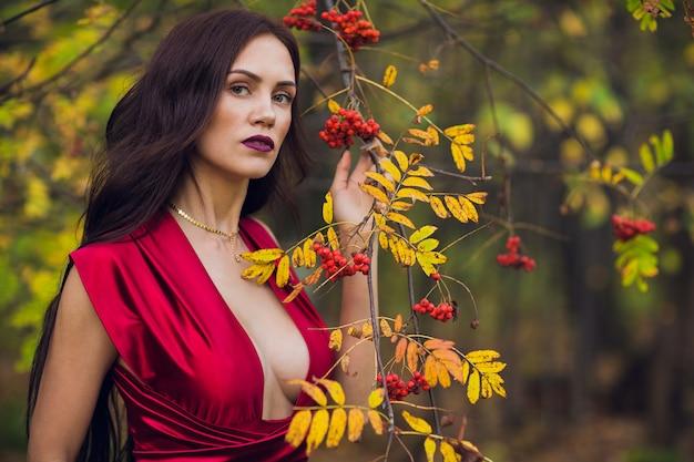 Frau in einem langen roten kleid allein im wald. fabelhaftes und geheimnisvolles bild eines mädchens in einem dunklen wald in der abendsonne. sonnenuntergang, prinzessin ging verloren.