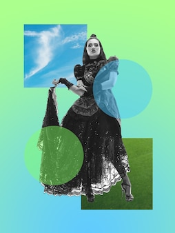 Frau in traditioneller tracht auf steigungshintergrund. negatives leerzeichen, um ihren text einzufügen. modernes design. zeitgenössische bunte und konzeptionelle helle kunstcollage für die werbung. zine, retrowave-stil.