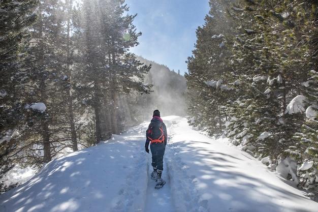 Frau kommt im winter mit schneeschuhen aus dem schutz von