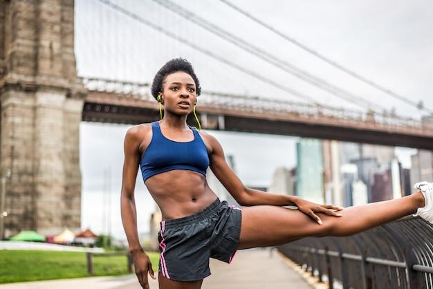 Frau läuft in new york
