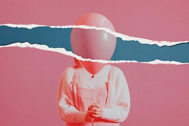Frau mit ballonbild im zerrissenen papierstil