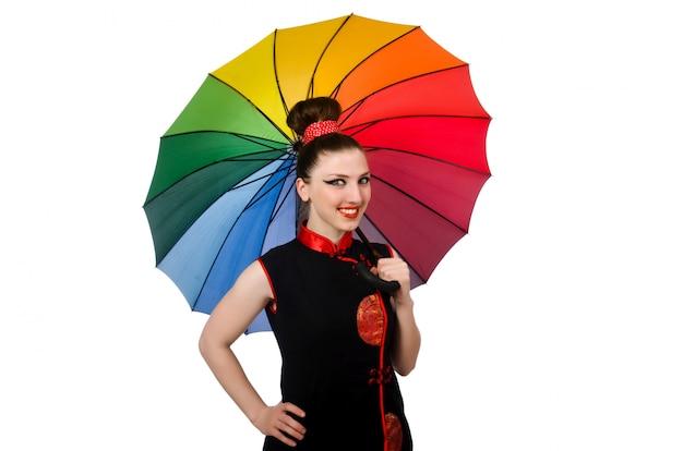 Frau mit dem bunten regenschirm getrennt