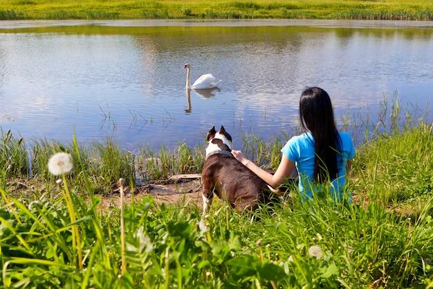 Frau mit dem hund, der auf der bank sitzt