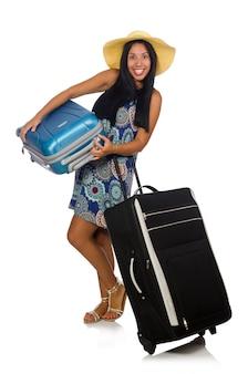 Frau mit dem koffer getrennt auf weiß