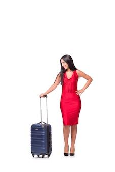 Frau mit dem koffer lokalisiert auf weißem hintergrund
