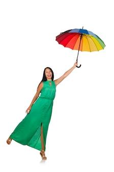 Frau mit dem regenschirm getrennt auf weiß
