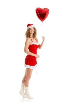 Frau mit einem herd ballon