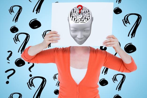 Frau mit einem plakat mit einer zeichnung eines kopfes