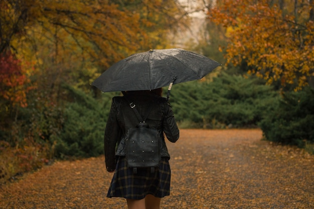 Frau mit einem regenschirm, der im park an einem regnerischen herbsttag geht