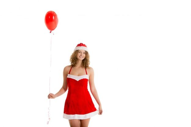 Frau mit einem roten ballon